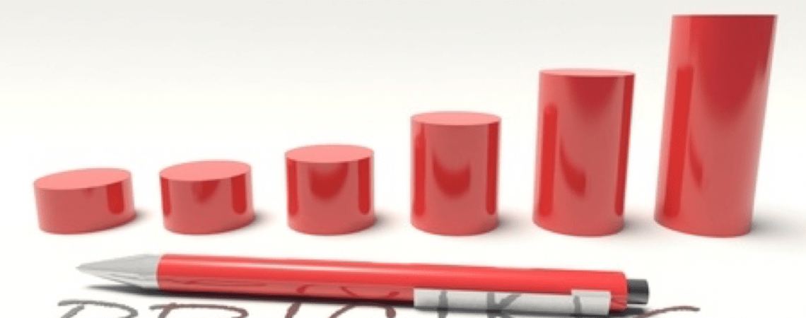 Red pen in front of red columns increasing in size